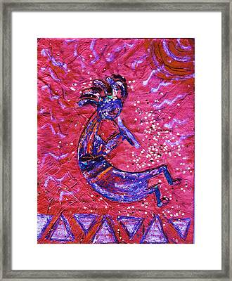 Kokopelli Dance Framed Print by Anne-Elizabeth Whiteway