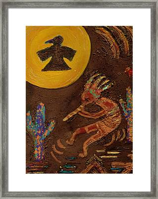 Kokopelli Dancing II Framed Print by Anne-Elizabeth Whiteway