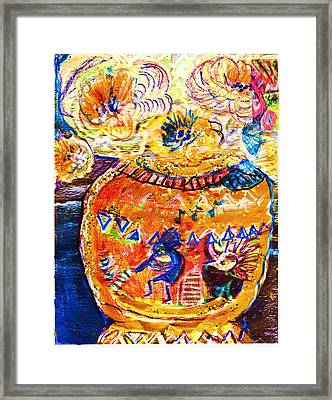 Kokopelli Dancing On Vase Framed Print by Anne-Elizabeth Whiteway