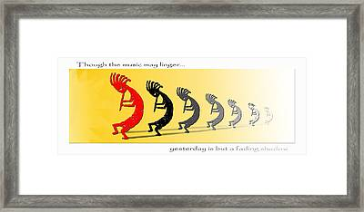Kokopelli Fading Shadows - Poster Framed Print