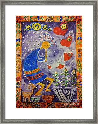 Kokopelli In Love Framed Print by Maryna Salagub