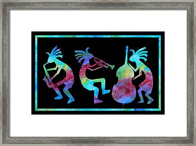 Kokopelli Jazz Trio Framed Print by Jenny Armitage