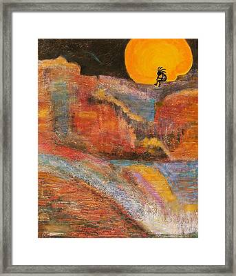 Kokopelli On A Marmalade Moon Night Revisited Framed Print by Anne-Elizabeth Whiteway