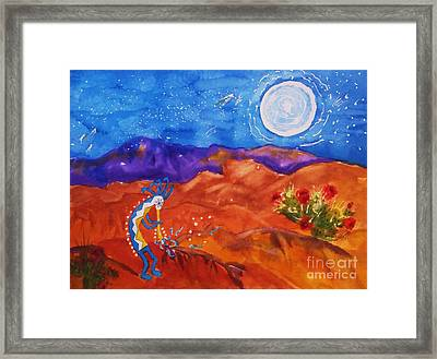 Kokopelli Playing To The Moon Framed Print by Ellen Levinson