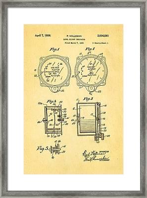 Kollsman Altimeter Patent Art 1936 Framed Print by Ian Monk