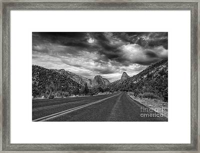 Kolob Canyon Black And White Framed Print