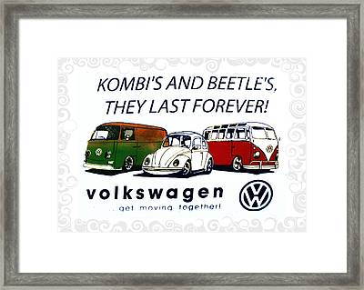 Kombis And Beetles Last Forever Framed Print by Bill Cannon