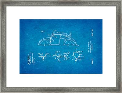 Komenda Vw Beetle Body Design Patent Art 1942 Blueprint Framed Print