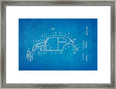 Komenda Vw Beetle Body Design Patent Art 1944 Blueprint Framed Print
