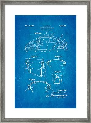 Komenda Vw Beetle Body Design Patent Art 1945 Blueprint Framed Print by Ian Monk