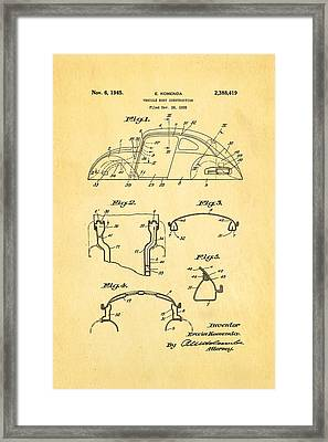 Komenda Vw Beetle Body Design Patent Art 1945 Framed Print