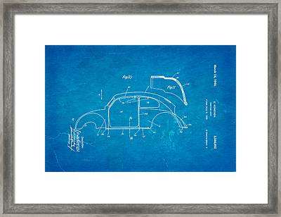Komenda Vw Beetle Body Design Patent Art 2 1944 Blueprint Framed Print