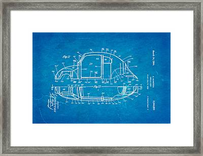 Komenda Vw Beetle Body Design Patent Art 3 1944 Blueprint Framed Print