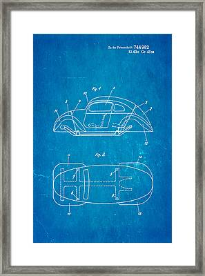 Komenda Vw Beetle Official German Design Patent Art Blueprint Framed Print