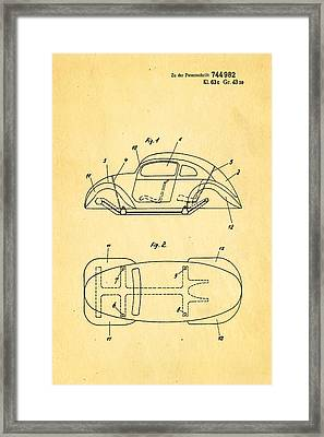 Komenda Vw Beetle Official German Design Patent Art Framed Print