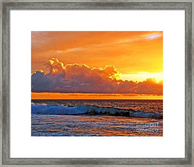 Framed Print featuring the photograph Kona Golden Sunset by David Lawson
