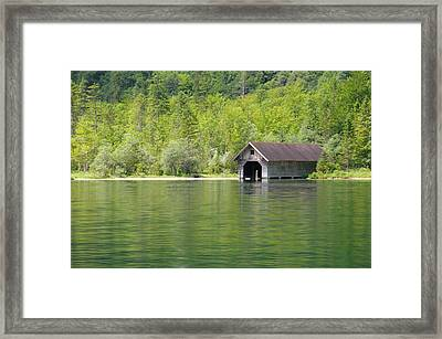 Konigsee Boathouse Framed Print by Jeremy Voisey