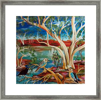 Framed Print featuring the painting Kookaburras Billabong by Roberto Gagliardi