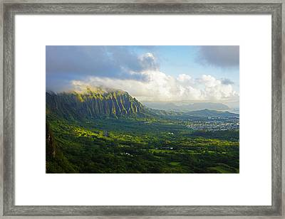 Koolau Mountains Morning Light Framed Print