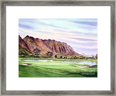 Framed Print featuring the painting Koolau Golf Course Hawaii 16th Hole by Bill Holkham