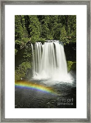 Koosah Falls And Rainbow Framed Print