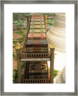 Korans On Shelf In Sheikh Zayed Bin Framed Print
