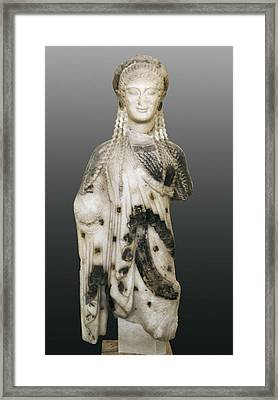 Kore. Ca.  510 Bc. Archaic Greek Art Framed Print by Everett