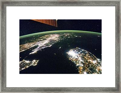 Korea At Night Framed Print by Nasa