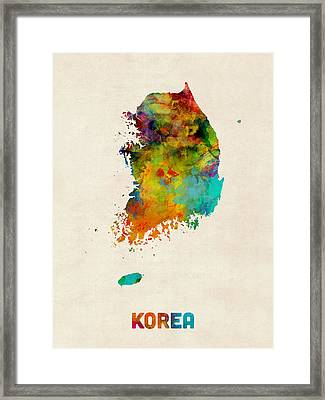 Korea Watercolor Map Framed Print by Michael Tompsett