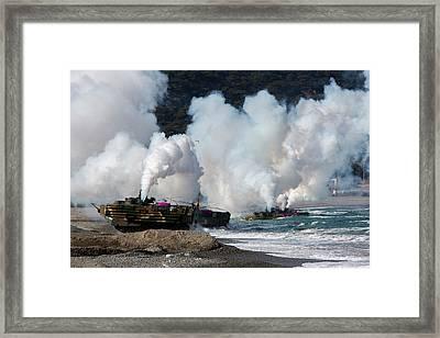 Korean Amphibious Assault Vehicles Land Framed Print by Stocktrek Images