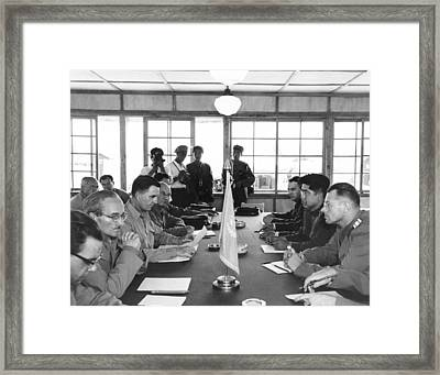 Korean Armistice Meeting Framed Print by Underwood Archives