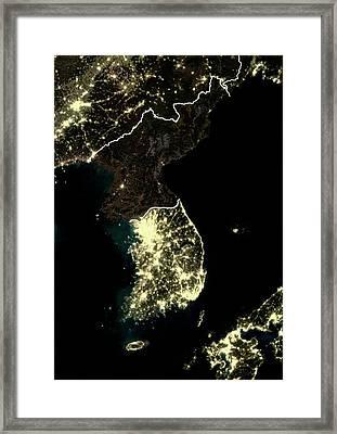 Korean Peninsula At Night Framed Print