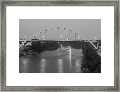 Korean Veterans Bridge At Night Framed Print by Robert Hebert