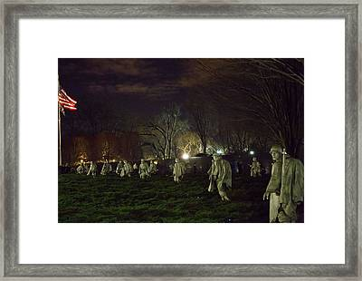 Korean War Memorial At Night Framed Print by Natural Focal Point Photography