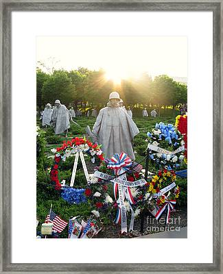 Korean War Memorial In Dc Framed Print by Olivier Le Queinec