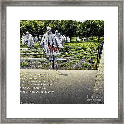 Korean War Memorial Washington D.c. Framed Print by Bob and Nadine Johnston