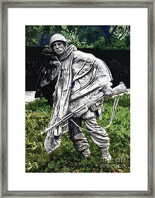 Korean War Veterans Memorial  Barman Framed Print by Bob and Nadine Johnston