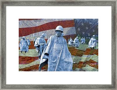 Korean War Veterans Memorial Bronze Sculpture American Flag Framed Print