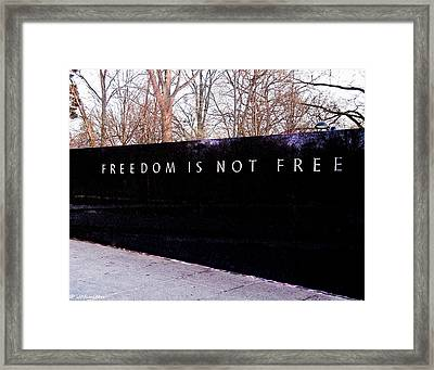 Korean War Veterans Memorial Freedom Is Not Free Framed Print by Bob and Nadine Johnston
