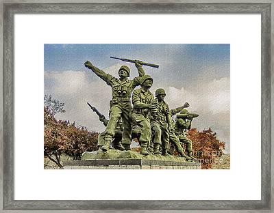 Korean War Veterans Memorial South Korea Framed Print by Bob and Nadine Johnston