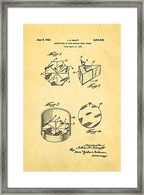 Kraft Cheese Triangle Patent Art 1951 Framed Print