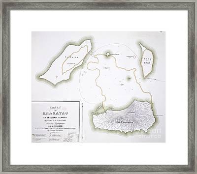 Krakatoa Map, 1885 Framed Print