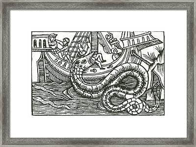 Kraken Attacking Ship, 16th Century Framed Print