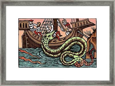 Kraken Attacking Ship Framed Print