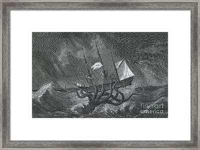 Kraken Attacking Ship, 1700 Framed Print