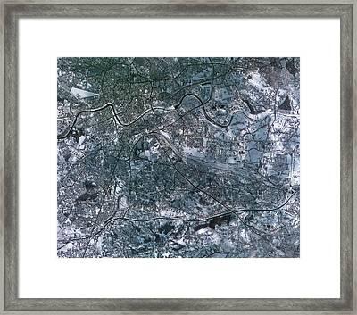 Krakow In The Snow Framed Print by Kari/european Space Agency
