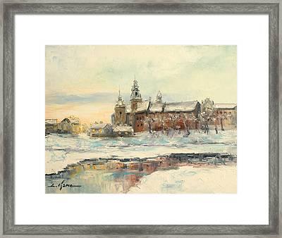 Krakow - Wawel Castle Winter Framed Print