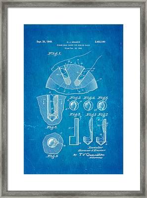 Kramer Bowling Bowl Finger Hole Insert Patent Art 1949 Blueprint Framed Print by Ian Monk