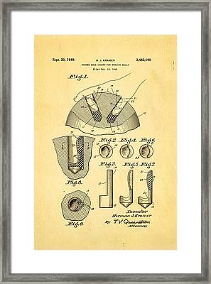 Kramer Bowling Bowl Finger Hole Insert Patent Art 1949 Framed Print by Ian Monk