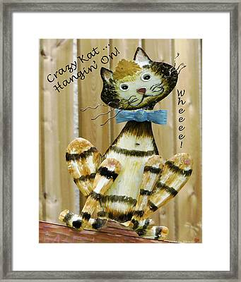 Framed Print featuring the photograph Krazy Kat Hangin On by Rhonda McDougall